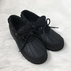 Sperry Black Quilted One Eye Ankle Duck Boots